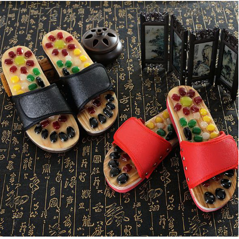 170603/Natural pebbles massage slippers / foot acupoints health shoes / men and women couples foot massage massage home shoes  natural pebble foot massage slippers point massage shoes men and women couple home skid shoes tb20903