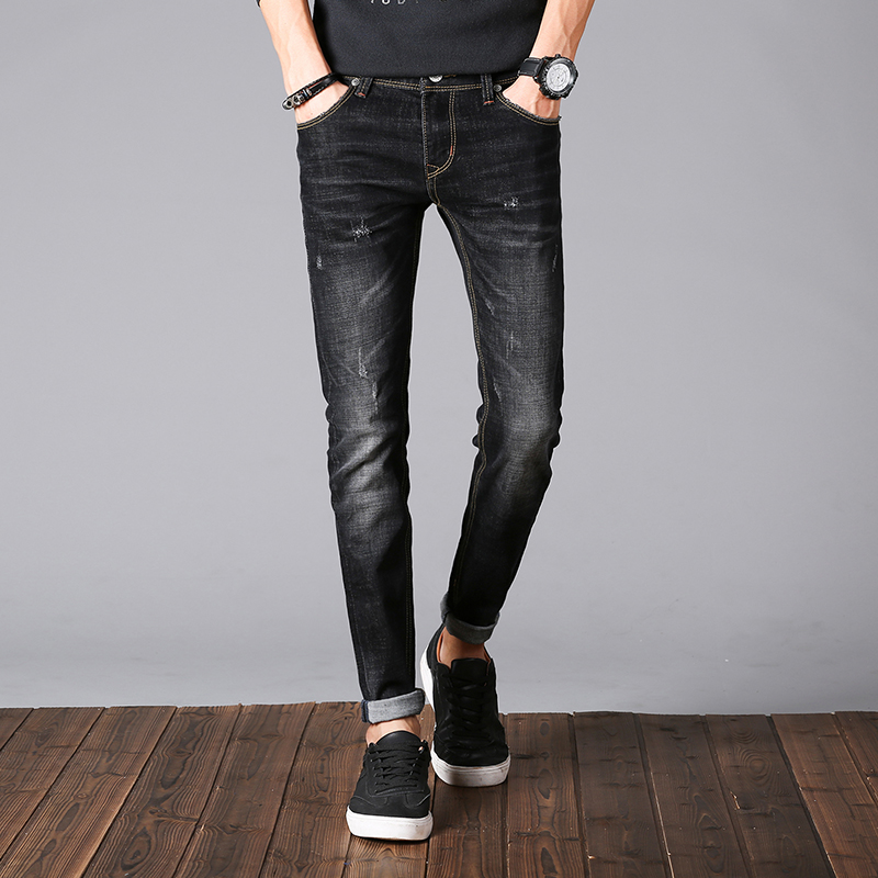 New Luxury Brand Mens Jeans Skinny Cotton Slim Solid Color Casual Denim Mens Trousers Elastic Brand Stretch Mens Jeans