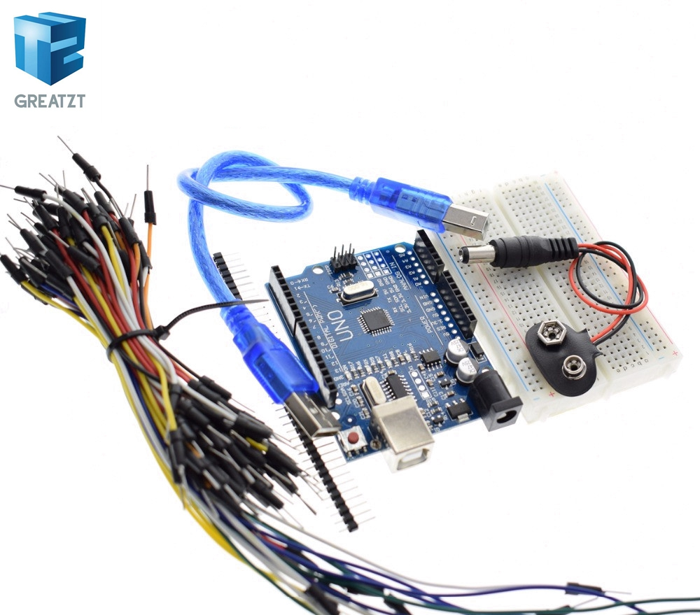 GREATZT Starter Kit for arduino Uno R3 - Bundle of 5 Items: Uno R3, Breadboard, Jumper Wires, USB Cable and 9V Battery Connector