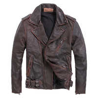 2019 Vintage Brown Men Slim Fit Biker's Leather Jacket Plus Size XXXXXL Genuine Cowhide Short Motorcycle Coat FREE SHIPPING
