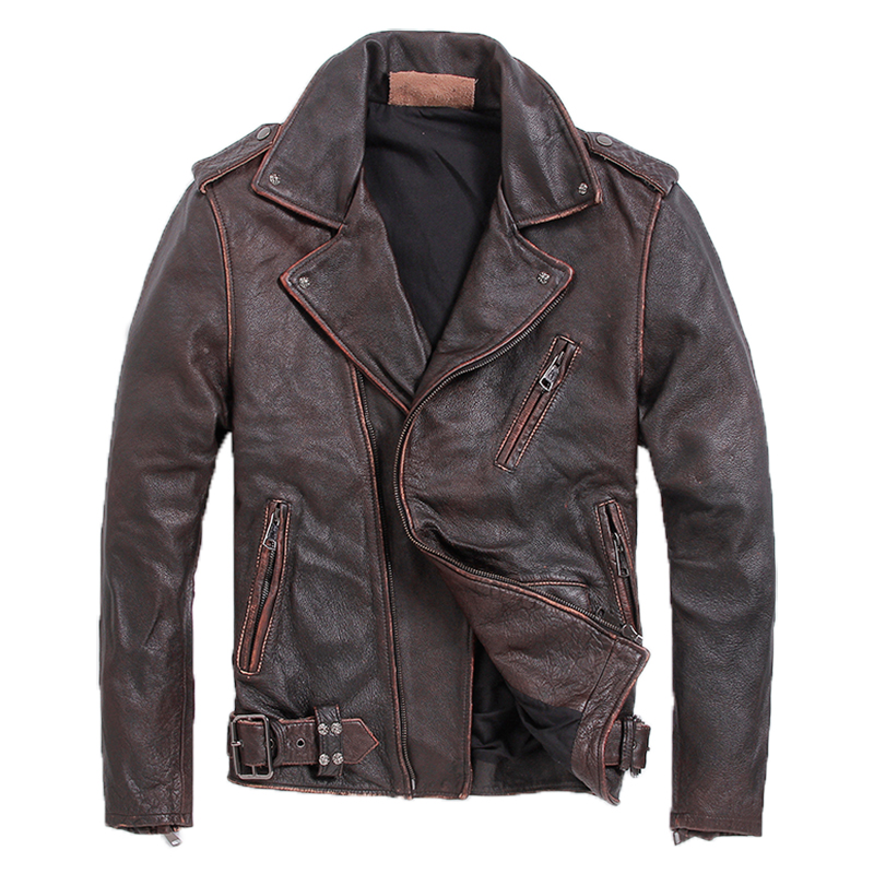 2020 Vintage Brown Men Slim Fit Biker's Leather Jacket Plus Size XXXXXL Genuine Cowhide Short Motorcycle Coat FREE SHIPPING