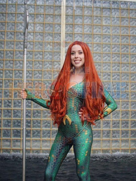 Free Shipping 3D Printed DC Marvel Queen Mera Costume Film Version Justice League Costumes Tight Catsuit