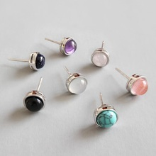 цены на Ruifan Natural Round Gemstone Crystal Agate Amethyst 925 Sterling Silver Stud Earrings for Women Girls Korean Jewelry YEA256  в интернет-магазинах
