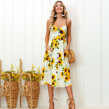 V Neck Casual Sunflower Dress Women Clothes Summer Backless Plus Size Long Sexy Dresses 2019 Fashion Clothing