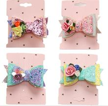 New Glittering Flowers bowknot hair Clips Girls Hairpins barrette Kids Headwear Children  Fashion Party Accessories J42