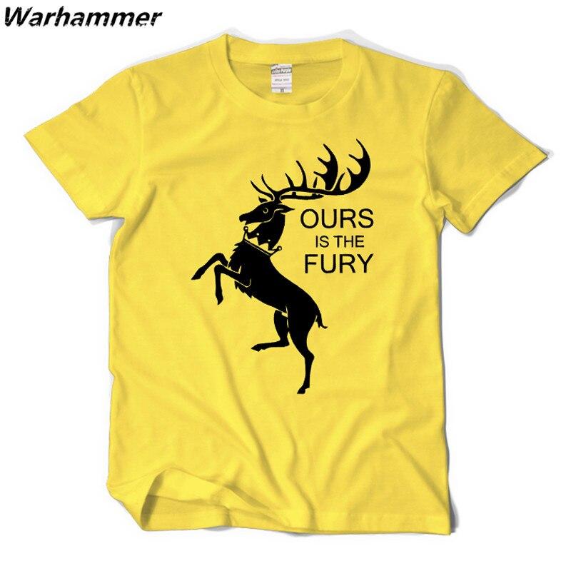 Warhammer jeu de trône hommes T-Shirt été imprimer une chanson glace & feu le nôtre est le T-Shirt à manches courtes Fury T-Shirt en coton à col rond