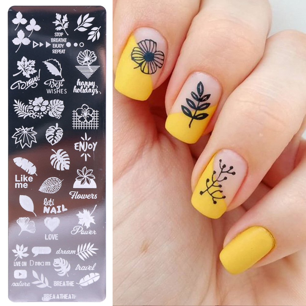 1pcs 12 4cm Rectangle Nail Stamping Template Geometry Flower Leaf Patterns DIY Nail Designs Manicure Stamp Plate P006 in Nail Art Templates from Beauty Health