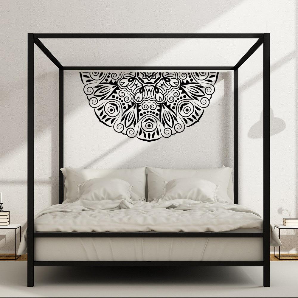 US $14.62 28% OFF|Half Mandala Flower Wall Decal Master Bedroom Vinyl  Headboard Hippie Style Stickers Bohemian Removable Zen Art DIY Decor  SYY600-in ...