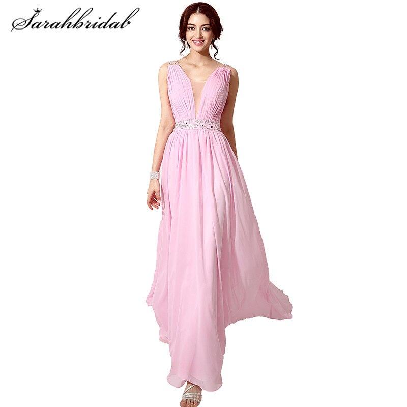Rosa elegante largo Prom vestidos con cuello en V Sexy Back Lace A ...