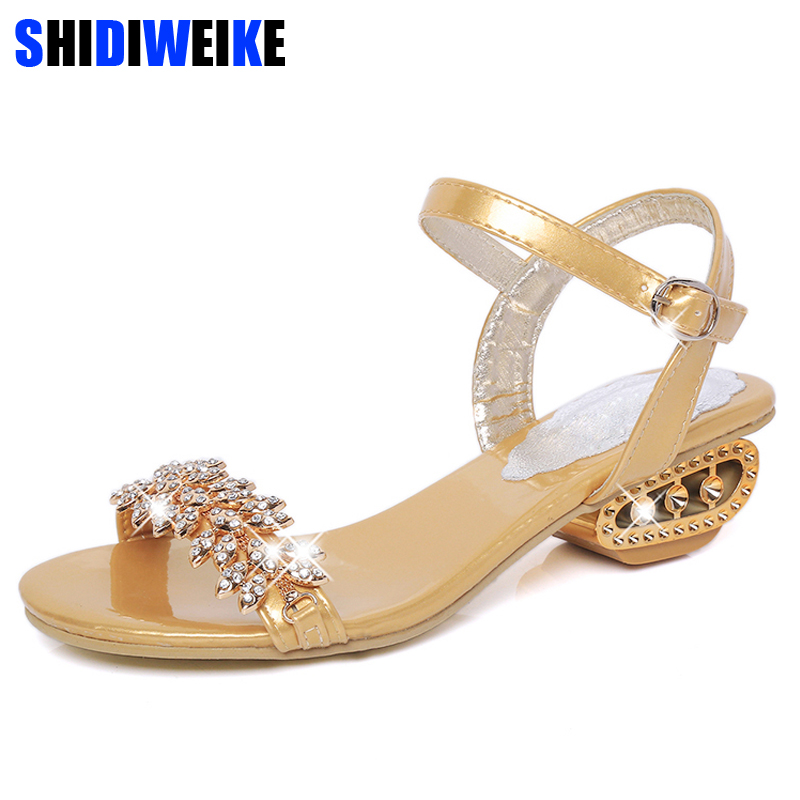 Crystal Gladiator Sandals 2018 New Fashion Bling Sexy Square Heels Platform Beach Sandals Casual Gold Shoes Woman m453 fedonas new sexy crystal gladiator sandals 2018 new fashion bling sexy high heels platform wedding party shoes woman sandals