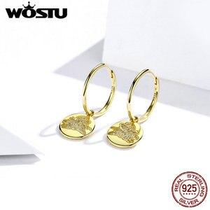 Image 2 - WOSTU 100% gerçek 925 som gümüş damla küpeler altın renk mutlu ve güzel CZ uçan Piggy küpe düğün hediye CTE225