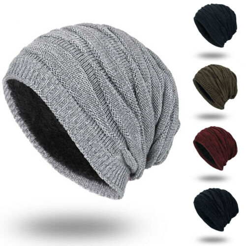 Winter Warm Women Men Hat Slouch Baggy Hat Solid Beanie Ski Knitted Thick Cap Beanie Hot Sales