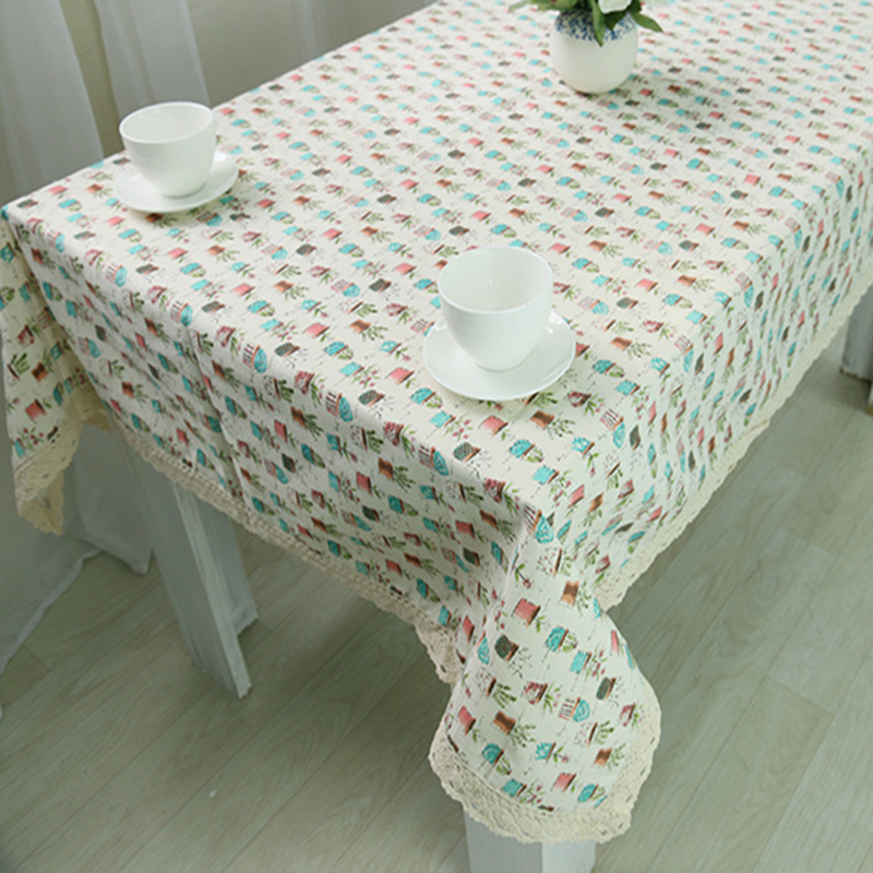 Table Cloth Coffee Tea Table Cloth Flower Pots Floral Christmas Linen Cotton Pastoral Europe
