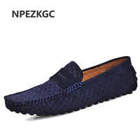 NPEZKGC Genuine Leather Men Shoes Nubuck Leather Men Loafers Fashion Plus Size summer Mens Shoes Casual Shoes Size 38-46