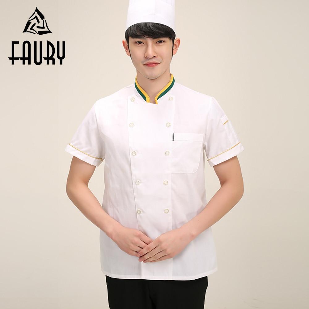 Men Food Service Work Wear Kitchen Clothes Short Sleeve Summer Cooking T-shirt Chef Uniforms Jacket M-3XL