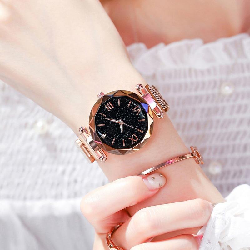 Reloj de pulsera de lujo para mujer reloj de pulsera de oro rosa magnético cielo estrellado para mujer reloj de pulsera para mujer-in Relojes de pulsera de mujer from Relojes de pulsera    1