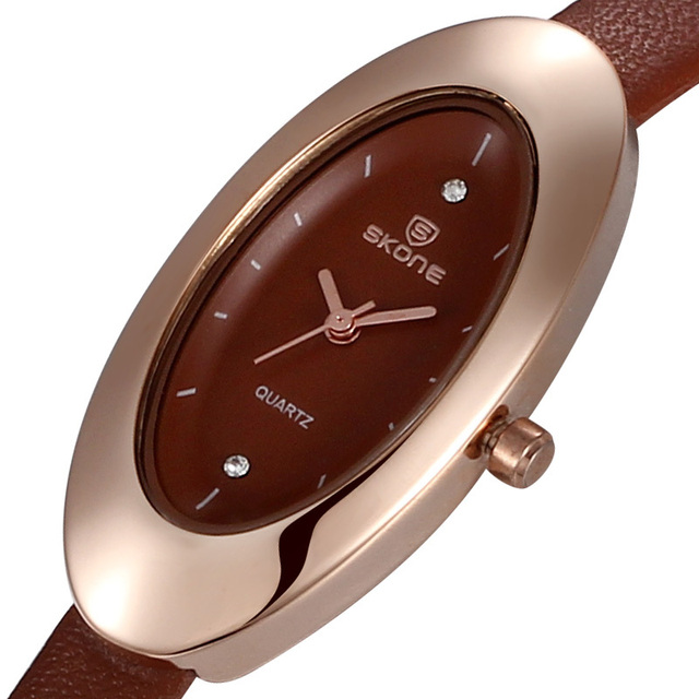 Hot Sale 2015 Fashion Brand Skone Ladies Watch Rhinestones Women Watches Oval Shape Dial Leather Band Wristwatches