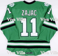Mens Hockey Jerseys 11 Zajac North Dakota Fighting Sioux Hockey Jersey Stitched Logo Green S 3XL