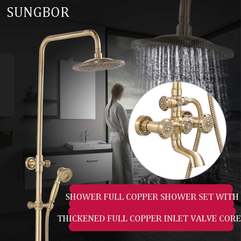 Bathroom Retro Shower Set Faucet Antique Brass Wall Waterfall Shower Tap With 8 Inch Rainfall Shower Solid Shower Mixer HS-8839FBathroom Retro Shower Set Faucet Antique Brass Wall Waterfall Shower Tap With 8 Inch Rainfall Shower Solid Shower Mixer HS-8839F
