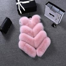 Uwback Fur Gilet Women 2017 New Brand Pink/White Faux Fox Fur Vest Mujer Plus Size 4XL Warm Fur Coat Female TB1314