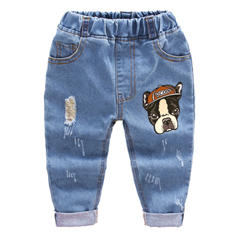 2018 Fashion Children Jeans Baby Boys Cartoon Trousers Pant Baby Girls  Grinding Holes Jeans Kids Spring Autumn Clothes 2-6Years(China)