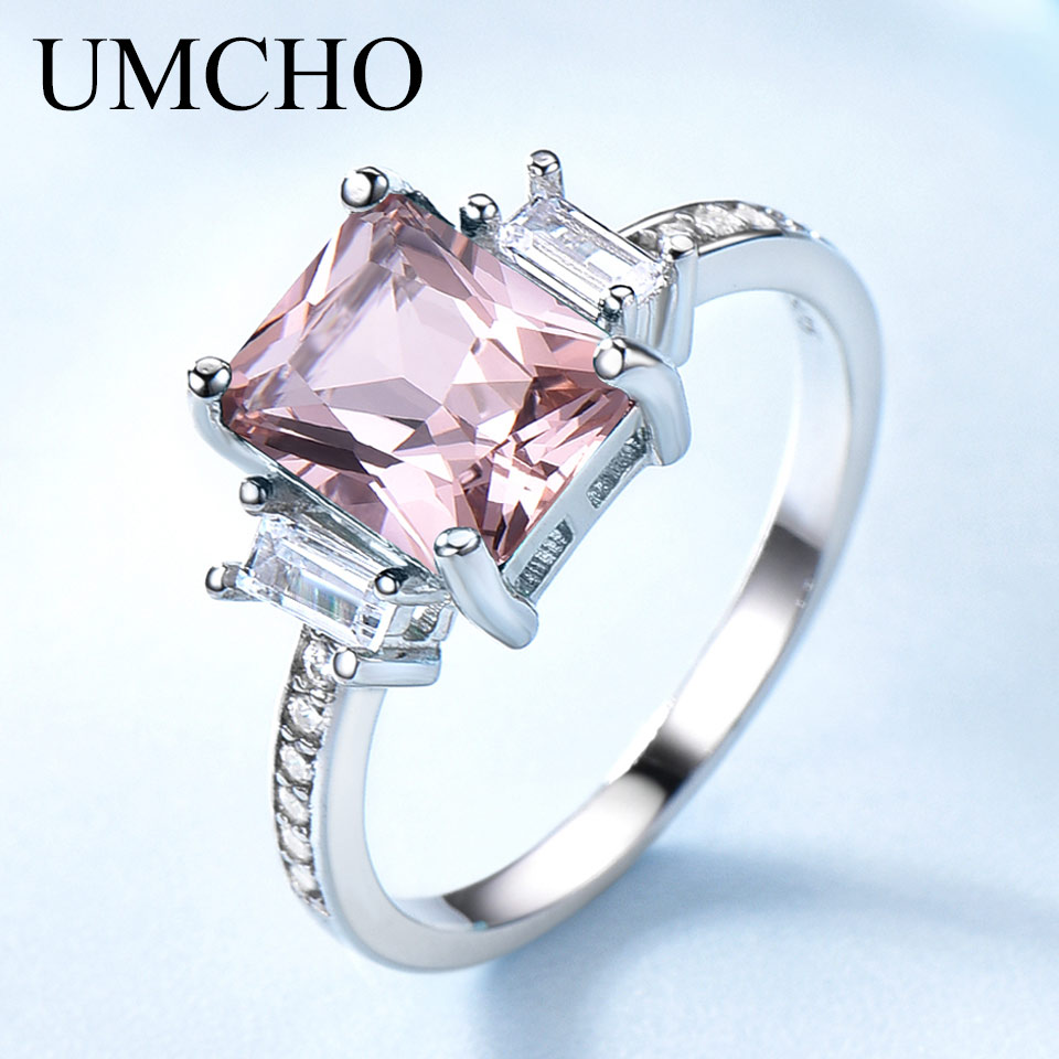 UMCHO Solid Sterling Silver Cushion Morganite Gemstone Rings For Women Engagement Anniversary Band Valentines Gift Ring Set NewUMCHO Solid Sterling Silver Cushion Morganite Gemstone Rings For Women Engagement Anniversary Band Valentines Gift Ring Set New