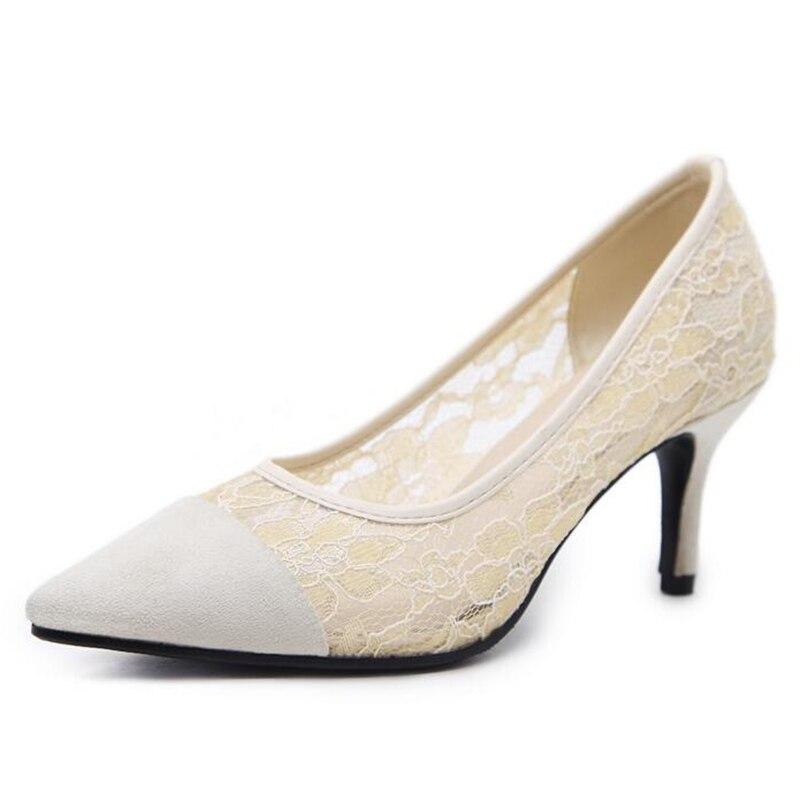 Confortable Bout Chaussures Mode Pour Pompes Femmes La Vamp Black Dentelle Talon white Port Respirable Mince Xwd6557 Grand Hee Pointu wFCzff