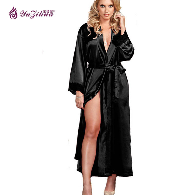 big robes de soie pour les femmes peignoir satin robe sexy robes robes de chambre pour les. Black Bedroom Furniture Sets. Home Design Ideas