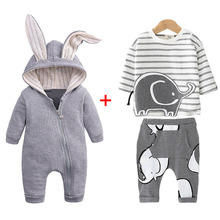 лучшая цена Newborn Baby Boys Clothes Sets Infant Clothing Children Overalls 0-2 Year 2019 Autumn Winter Baby Girls Clothes For Baby Outfit
