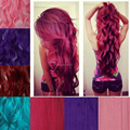 2017 Hot Stylish Lady 3/4 Full Head Clip In Hair Extensions Cosplay Pink Purple Blue Green Red Natural Real Hairpiece Straight