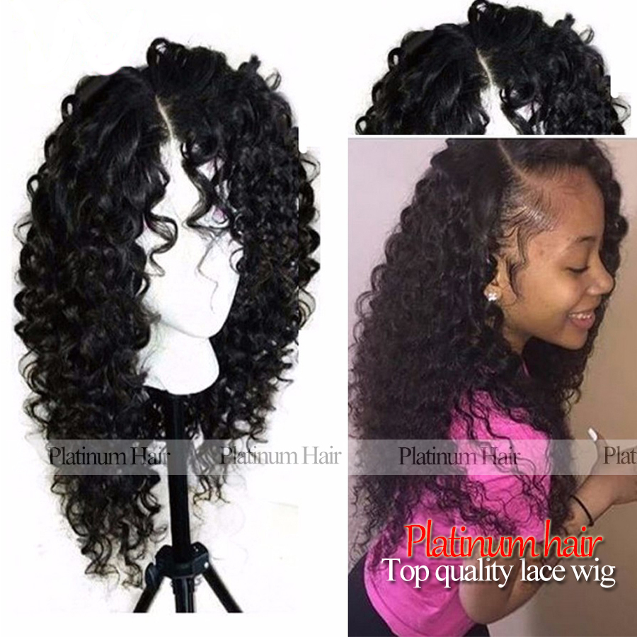 Afro Kinky Curly Synthetic Lace Front Wig Black Wigs with ...