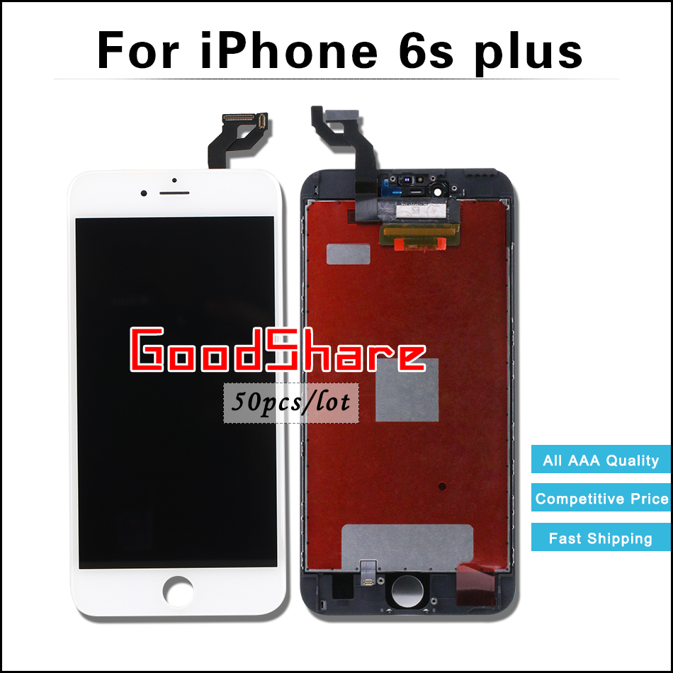 50 PCS/LOT LCD Screen For iPhone 6s plus Display Digitizer Assembly Replacement Black/White Test One by One AAA Free DHL Ship