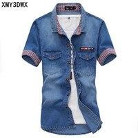 Hot 2016 Men S Boutique Summer Slim Fit Leisure Pure Cotton Short Sleeve Shirt Male Denim