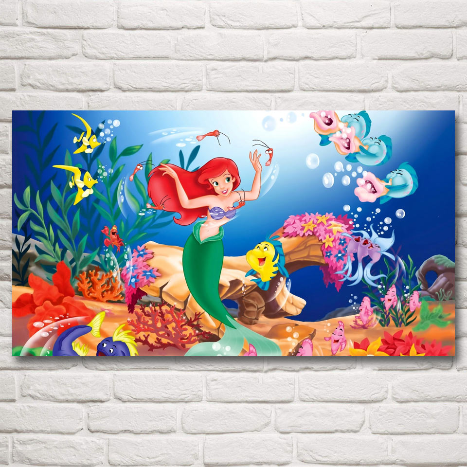 FOOCAME Princess Fairy Tale Mermaid Fairies Art Silk Posters and Prints Painting Home Decor Pictures For Living Room 20x36 Inch