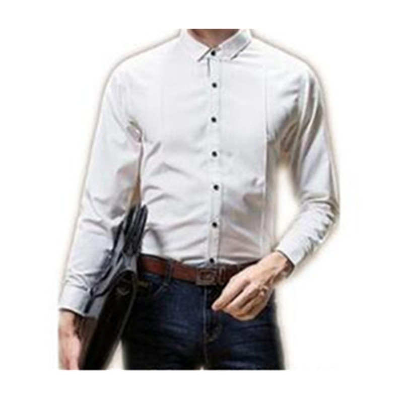 39-1 Handsome man\`s shirt Business casual men\`s pure color long sleeve shirts Cultivate one\`s morality men\`s white shirt