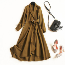 Fashion Wind Coat 2018 Winter New Style Turn-down Collar High Waist Pure Colour Long