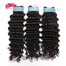 Ali Queen Hair Products Peruvian Deep Wave Hair Bundles 100% Human Hair Weave Bundles 3Pcs Virgin Hair Natural Color