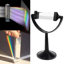 Оптическое стекло Тройная треугольная призма с подставкой для физики светильник обучения спектру