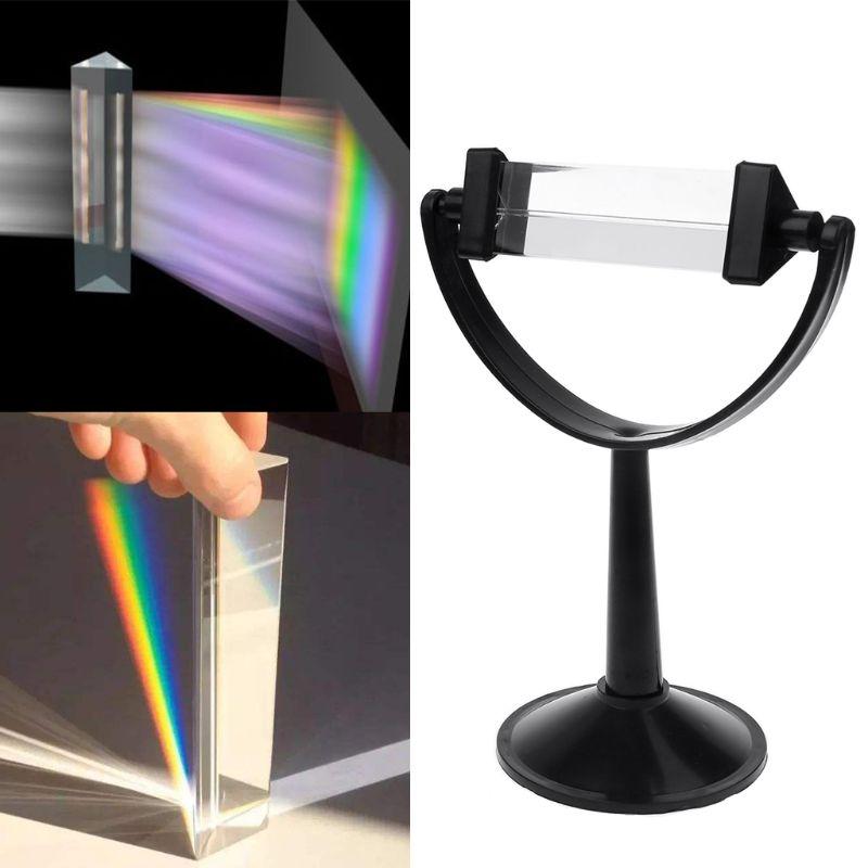 Verre optique prisme triangulaire Triple avec support, pour la physique enseignement du spectre lumineux
