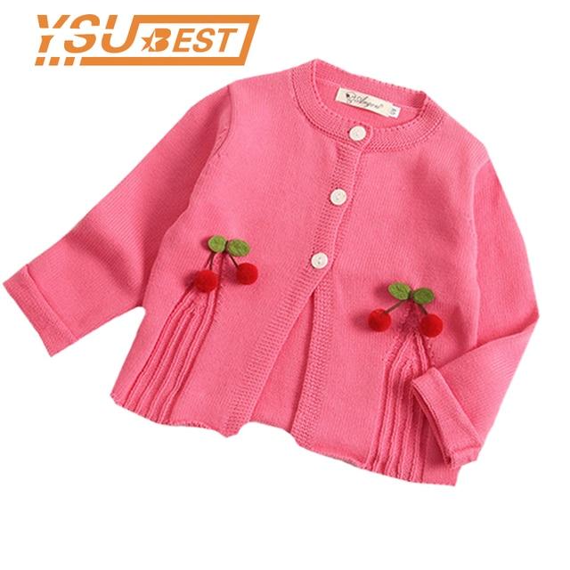 e734cdf9d 2018 New Girls Cardigan Cherry Knitted Baby Girls Sweaters Kids ...