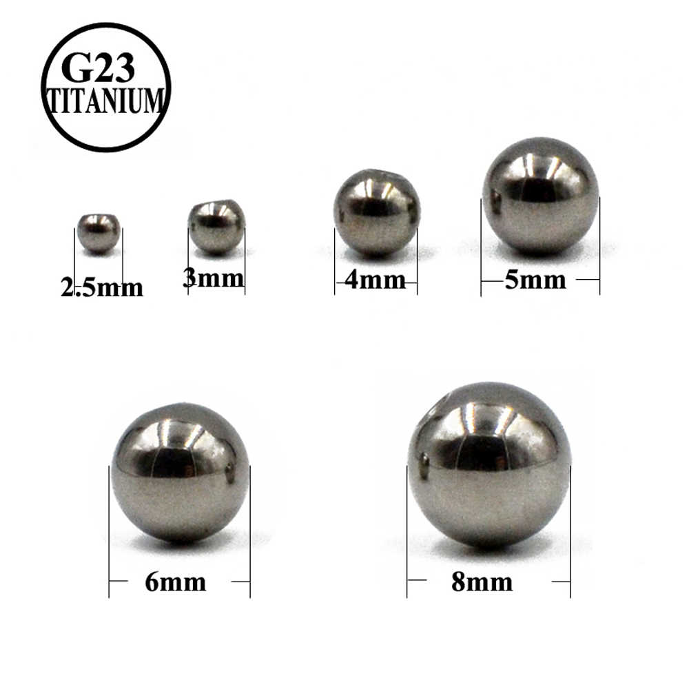 14G&16G 100% G23 Titanium Screw Balls Replacement Accessories For Tongue Eyebrow Earrings Piercing  Labret Nipple Navel