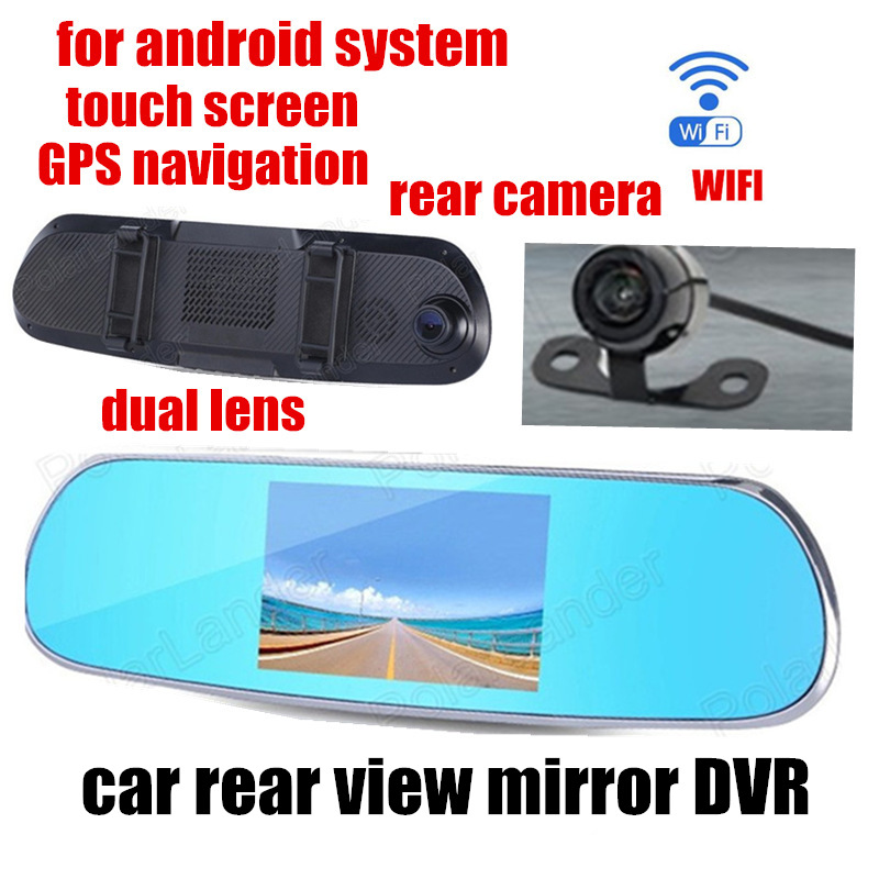 car rearview mirror DVR dual lens recorder video for android GPS WIFI 5.0 inch front 140 back 120 degree viewing angle image