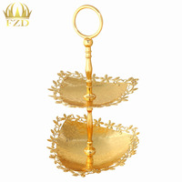 2 Layer Golden Hollow Inla Plate Metal Fruit Serving Tray Cake Plate Dessert Cup For Wedding