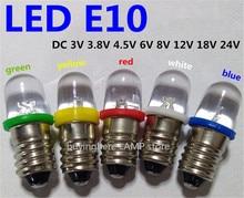 5pcs LED E10 6V Screw bulb Warning signal bulb 8v E10 24V Instrumentation 4.5v E10 12V blue Indicator red yellow green E10 3V