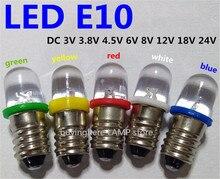 Bộ 5 Đèn LED E10 6V Vít Bóng Đèn Tín Hiệu Cảnh Báo Bóng Đèn 8V E10 24V Dụng Cụ Học Tập 4.5V E10 12V Chỉ Báo Màu Xanh Lam Đỏ Vàng Xanh E10 3V