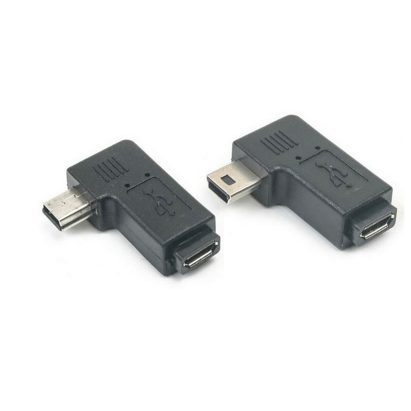 Mini Usb Male To Micro USB Female 90 270 Degree Angle Converter Connector Data Sync Charger Adapter For Car MP4 PC Tablets Cable