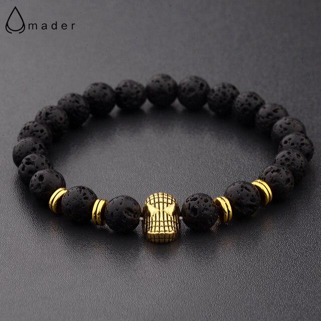 Amader 2017 Natural Lava Stones Gold Copper Charm Superman Beaded Bracelets Beads Men Women Ab239