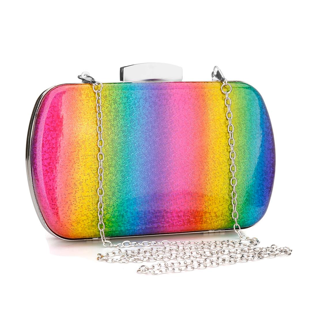 Image 3 - Fashion Rainbow Box Evening Bag Women Designer Elegant Bag Party Wedding Clutch Purse Female handbag Jelly Chain Shoulder BagsTop-Handle Bags   -