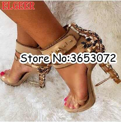 Brand Designer Unique Crystal Open Toe PVC Sandals Shoes Lock Ankle Wrap High  heels Rhinestone Embellished 37bc814ae4f8