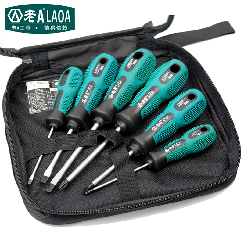 цены  LAOA 6pcs Screwdriver Set Household Repair Tools CR-V Magnetic Screwdrivers Kit Phillips screwdriver/straight screwdriver